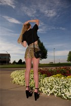 black leather Obsedia bag - brown leather leopard shorts