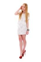 white sequin Jenni Kayne skirt - red platform Valentino pumps