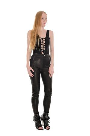 black leather Frame leggings - black lace up Alexander Wang boots