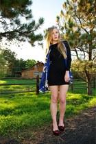 crimson kitty Velvet flats - black bodycon ribbed dress - blue silk Fendi scarf