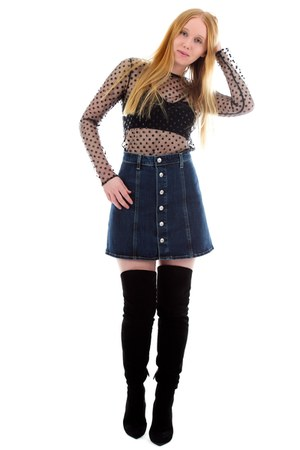 black polka dot Lisa Perry top - black thigh high Miu Miu boots