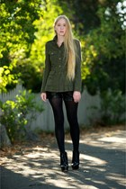 army green rag & bone jacket - black Fendi shoes - black Alice  Olivia shorts -