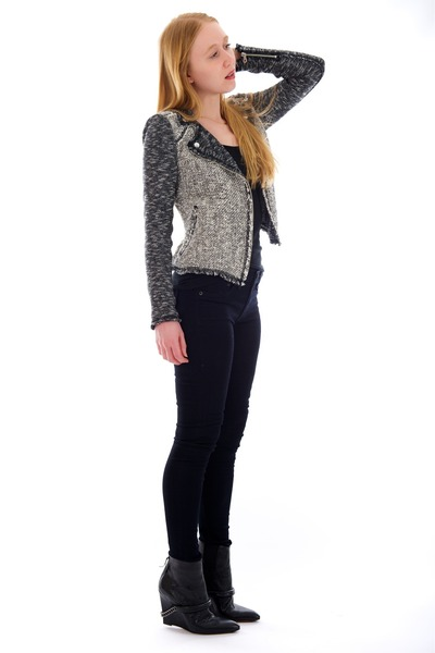 heather gray moto tweed jacket - black wedge Chain boots