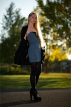turquoise blue grey ant dress - black alaia boots - black Dolce Vita cardigan -