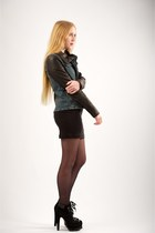black alaia boots - black LnA dress - black Helmut Lang jacket - black back seam