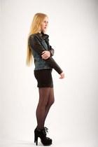 black alaia boots - black LnA dress - black Helmut Lang jacket - black back seam