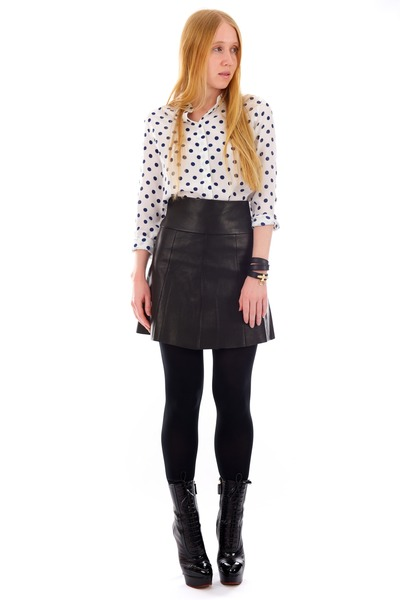 black raine Charlotte Olympia boots - white polka dot Equipment shirt