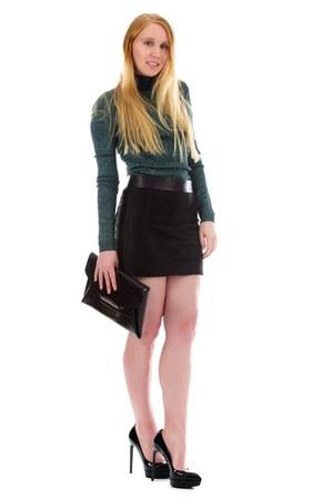 black mini Alexander Wang skirt - black clutch Givenchy bag