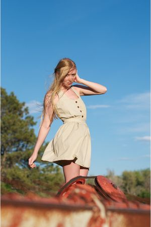 beige steven alan dress - brown Frye boots - red free people earrings