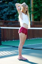 brick red drawstring Track shorts - white cotton cut-off t-shirt
