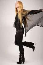 black Balmain boots - black opaque full Express tights - black McQ shorts - blac