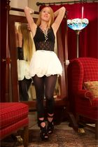 black Fendi shoes - black Express tights - white Ann Demuelemeester skirt - blac