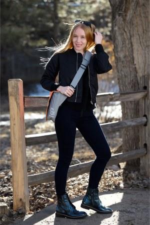 teal combat maison martin margiela boots - black nylon R13 jacket