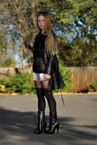 black Burberry boots - black asos tights - black Alice by Temperley coat - black