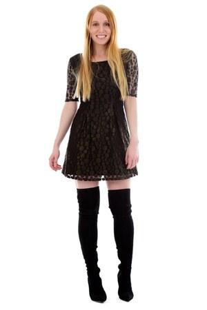 black thigh high Sergio Rossi boots - black babydoll Jaleh dress