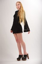 black priscilla Nightcap clothing dress - black leather studded Chanel clogs