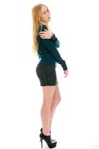 green sequin haute hippie skirt - black tribute Yves Saint Laurent boots