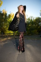 black Stone Cold Fox pants - black Kimberly Ovitz cardigan - black RVCA dress -