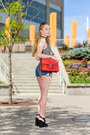 Red-suede-gucci-bag-navy-cutoff-genetic-denim-shorts