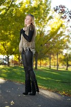 black buckle suede boots - black stretch leather leggings