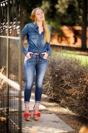 navy skinny Stella McCartney jeans - navy denim AG shirt
