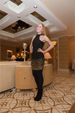 black sequin Parker dress - black wedge Yves Saint Laurent boots