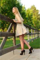 black Nicholas Kirkwood for Pollini shoes - beige Anzevino & Florence skirt - bl