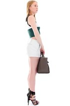 army green tie Celine bag - white leather rag & bone shorts