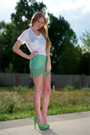 green Charlotte Olympia shoes - green gryphon skirt - white Kain Label top - bla