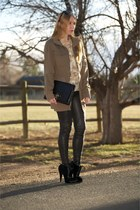 tan camo Equipment sweater - black ankle Calf hair boots