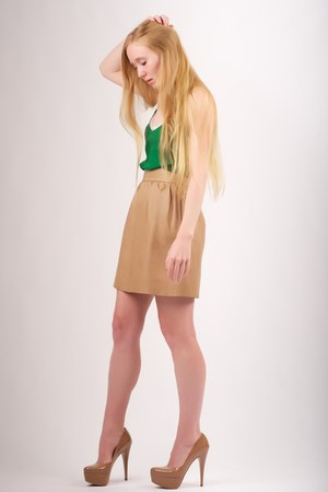 tan platform patent Prada pumps - green Karen Zambos Vintage Couture top