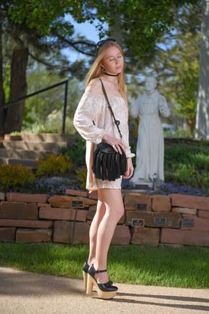 light pink mini ecote dress - black tassel Chloe bag