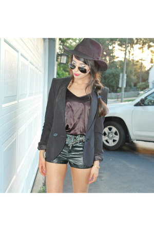 fedora Nasty Gal hat - asos blazer - faux leather H&M shorts