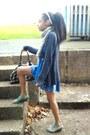 Blue-flowy-miss-selfridge-dress-silver-wrap-around-matalan-scarf