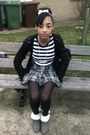 Striped-top-heels-boots-checkered-skirt