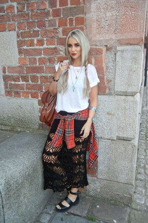 red Topshop shirt - forest green Rat & Boa skirt - white Topshop t-shirt