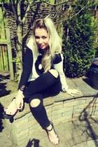 white UNIF jumper - black Topshop jeans - chartreuse vintage watch