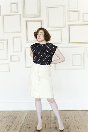 white Colette Patterns skirt - blue Colette Patterns blouse - gold thrifted shoe
