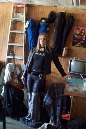wilsons leather jacket - top - dance wear pants - Hot Topic belt - dance wear ac