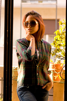 green aspesi blouse - H&M jeans - Gucci glasses
