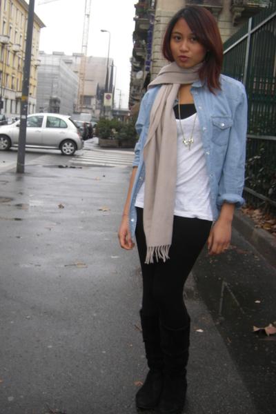Zara shirt - black Zara leggings - black Viauno boots - white H&M t-shirt - scar