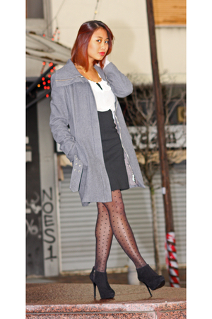 gray Blusand coat - black Zara skirt - pink H&M top - black Zara shoes