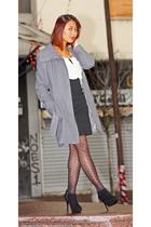 gray Blusand coat - black Zara skirt - pink H&M top - black Zara shoes