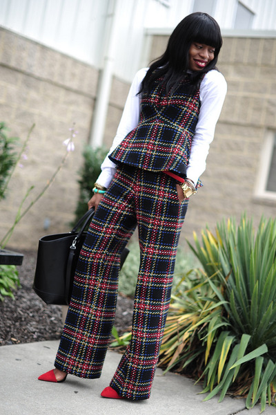 crimson tartan asoscom pants - black Zara bag - ruby red Zara pumps