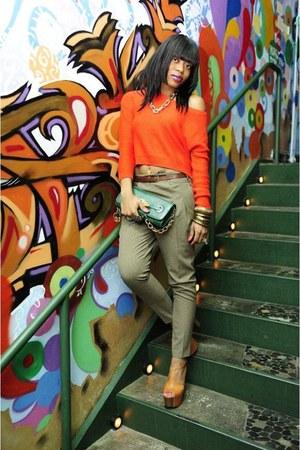 bronze Jessica Simpson shoes - dark green Aldo bag - light brown Zara pants - ca