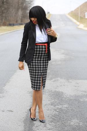 black tuxedo H&M blazer - white H&M shirt - black print asos skirt