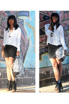 black Alexander Wang boots - white Zara shirt - black H&M skirt