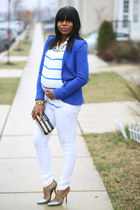 white maternity asos jeans - blue Zara blazer - blue Jcrew shirt
