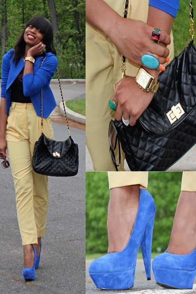 blue asos pumps - black Aldo bag - yellow American Apparel pants