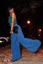 blue palazzo asos pants - black Aldo bag - dark green strips Forever 21 top